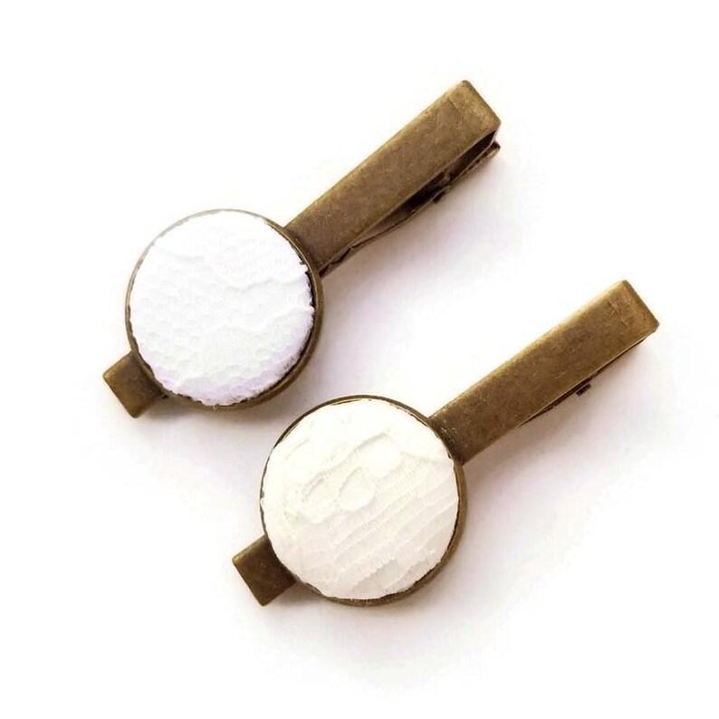 Mens Tie Bar Lace Fabric Button Tie Clip 13th Anniversary Gift Ideas