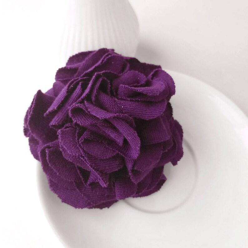 Purple Flower Lapel Pin Fabric Floral Boutonniere Carnation image 0