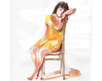 Girl Sitting on Chair original illustration painting watercolor figurative people