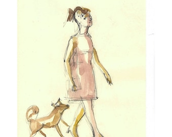 Girl Walking with a Dog illustration original art drawing painting people figurative