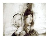 COUPLE  Love Art Print  portrait figurative