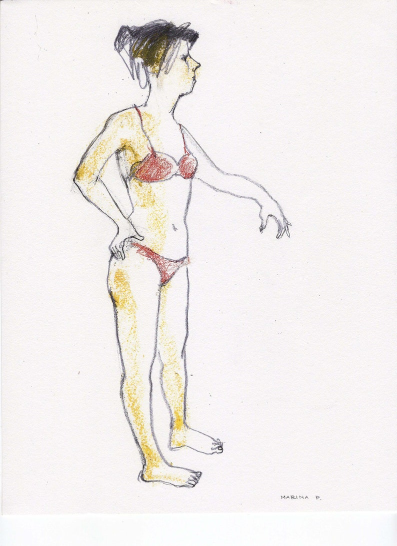 Woman Girl original drawing figurative art