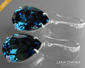 Navy Blue Montana Crystal Earrings Swarovski Rhinestone Dangle Earrings Wedding Blue Silver Earrings Bridal Bridesmaid Dark Blue Jewelry