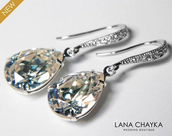 MOONLIGHT Crystal Earrings Swarovski Moonlight Pale Yellow Grey Silver Rhinestone Earrings Wedding Crystal Dangle Earrings Prom Earrings