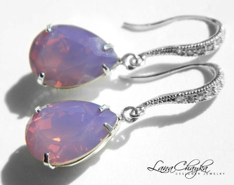 Cyclamen Opal Teardrop Crystal Earrings Purple CZ Sterling Silver Earrings Swarovski Cyclamen Opal Earrings Dangle Earrings Wedding Jewelry
