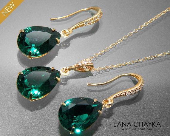 Emerald Green Crystal Jewelry Set Emerald Gold Etsy