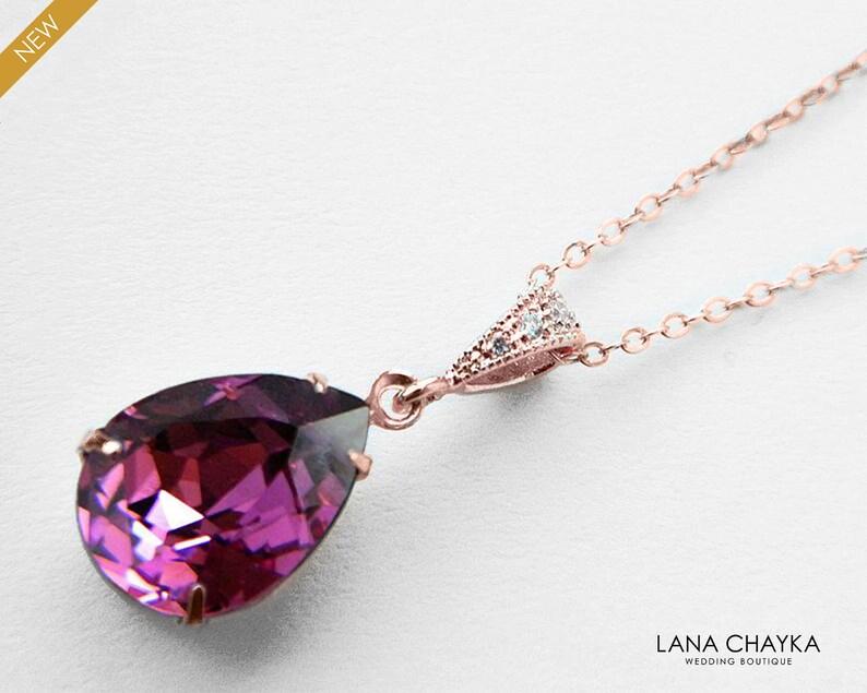 aa7b407cf4c55 Amethyst Rose Gold Crystal Necklace Swarovski Amethyst Teardrop Necklace  Purple Rhinestone Rose Gold Necklace Wedding Jewelry Bridal Jewelry