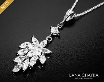 Cubic Zirconia Bridal Necklace Crystal Silver Wedding Necklace Floral CZ Necklace Sparkly Crystal Necklace Bridal Wedding Crystal Jewelry