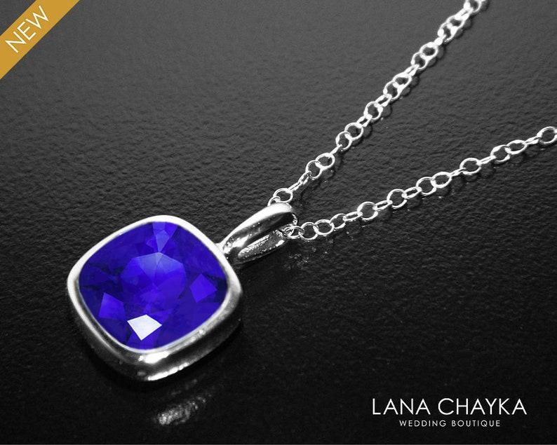 699626f32 Blue Crystal Necklace Swarovski Majestic Blue Square Silver   Etsy