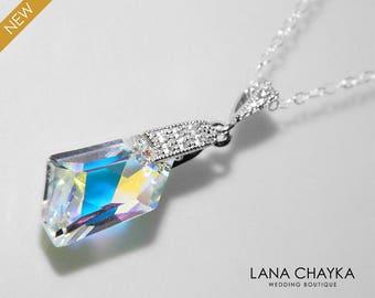 Aurora Borealis Crystal Necklace, Swarovski De-Art AB Crystal Wedding Necklace, Bridal Sparkly Crystal Silver Necklace, Prom AB Necklace