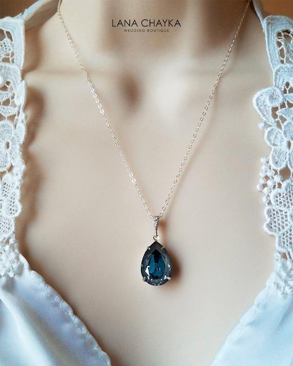 Navy Blue Crystal Necklace, Swarovski Montana Teardrop Necklace, Dark Blue  Silver Wedding Necklace, Bridal Bridesmaids Navy Blue Jewelry