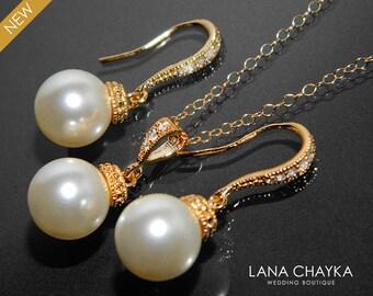 Ivory Pearl Gold Jewelry Set Swarovski 10mm Pearl Earrings&Necklace Set Pearl Drop Jewelry Bridal Set Wedding Jewelry Bridesmaid Pearl Set