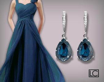 Navy Blue Crystal Earrings Montana Blue Rhinestone Teardrop Earrings Swarovski Montana Silver CZ Wedding Earrings Bridesmaid Marine Jewelry