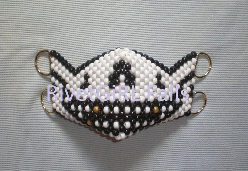 D-Ring Pirate Skull wGold Teeth Optional Cyber Raver Kandi Mask