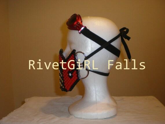 Kandi MADE TO ORDER D-Ring StarPentagram inspired Cyber Raver Gothic Mask