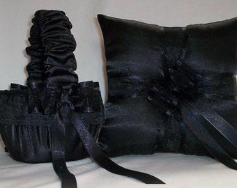 Black Satin With Black Trim  Flower Girl Basket And Ring Bearer Pillow