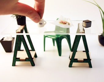 Imperfect Miniature IKEA Inspired VIKA Desk Kit for 1:12 Scale Modern Dollhouse in Wood