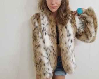 9415442cabae Amazing mint condition faux fur coat animal print bohemian boho chic 90s  grunge 80s glamour leopard zebra tiger faux fur size small