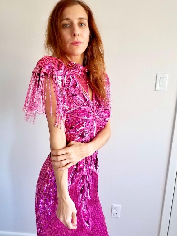 Hot pink sequin trophy gown open neck fringe beade