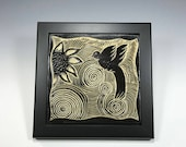Hummingbird Tile, Framed tile, Tile trivet, Bird Tile, Wine Coaster, Trivet Wall Piece, Wine Coaster, Sgraffito Tile
