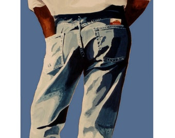 Blue Jeans Party, Man Pants, Original illustration Artist Print Wall ART, Free shipping in USA.