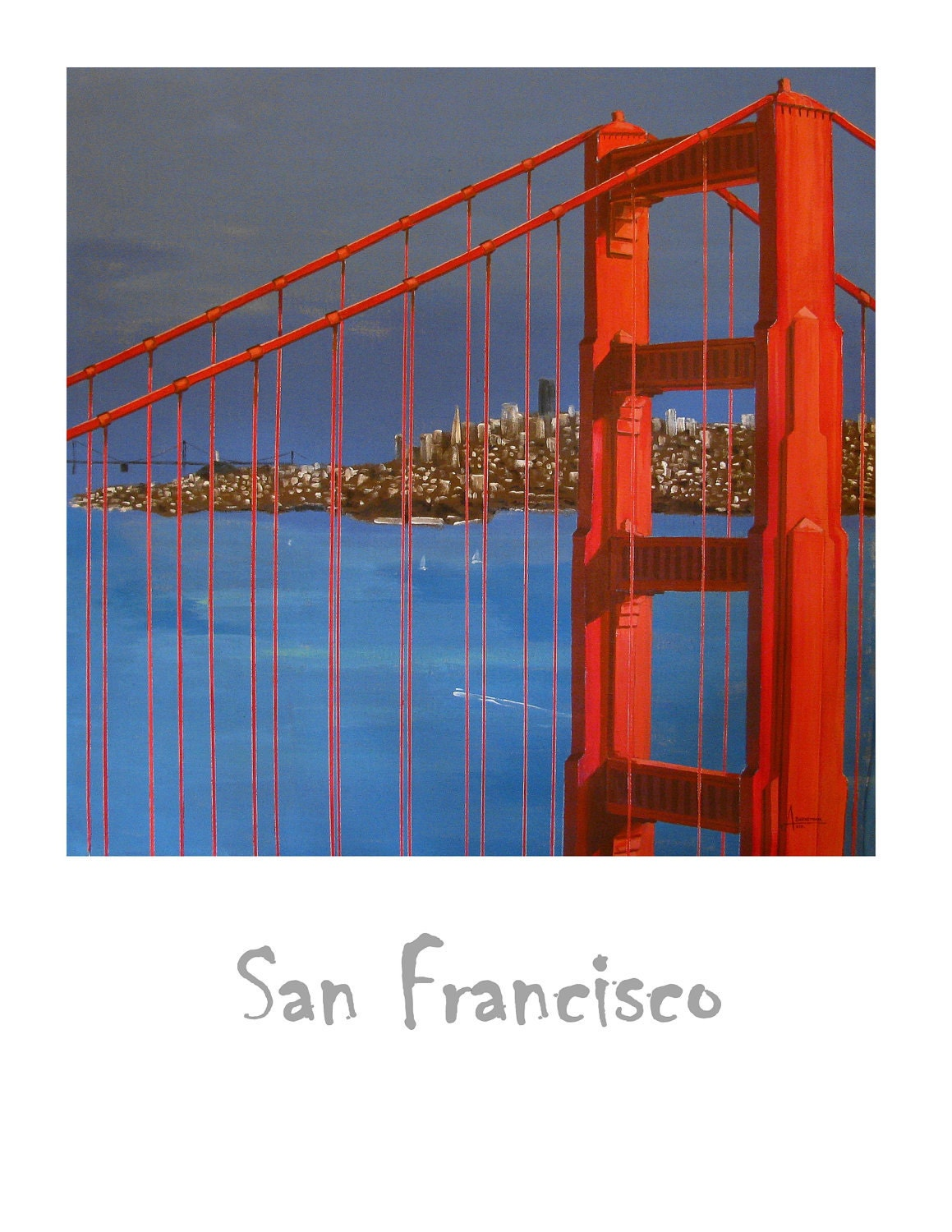 Golden Gate Bridge Travel Poster San Francisco City By The Etsy Diagram Of Zoom