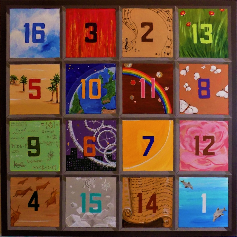 The Magic Square Albrecht Durer Mathematics 34 Abstract Symbol Colorful Original Painting On Canvas Wall Art Free Shipping N Usa