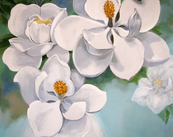 "MAGNOLIA flowers, White Turquoise, Blossoming, large size Original Painting on canvas, wall Art Home Decor, 56""x 56"", Free Shipping in USA."