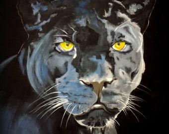 "Black Panther, Golden eyes, Animal, Wild Life, Extra Large Original Painting, 56""x 56"", Wall Art, Free Shipping in USA."