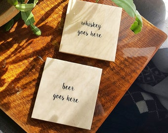 Beer & Whiskey Stone Coasters (Various Options) Boozy Drink Gift