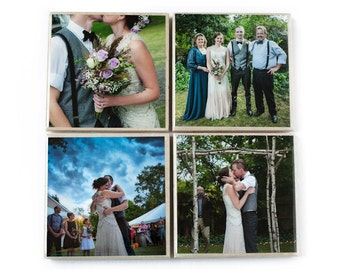 Custom Photo Coaster Set (4 Stone Coasters: Black and White OR Color) Personalized Photo Coasters, Custom Gift - Wedding - Mother's Day