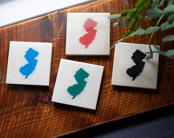 New Jersey Stone Coasters Set of 4 (Black, Blue, Green, & Red) NJ Gift