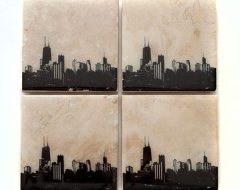 Chicago Skyline Coaster Set: Edition I (4 Stone Coasters, Black & White) Cityscape Home Decor