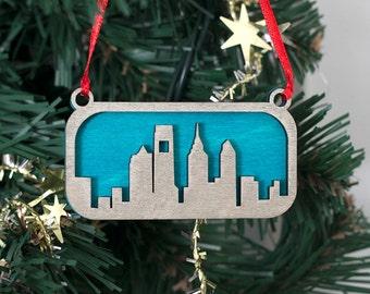 Philadelphia Skyline Ornament (Silver & Blue Laser Cut Wood) Holiday Home Decor / Christmas Tree Gift