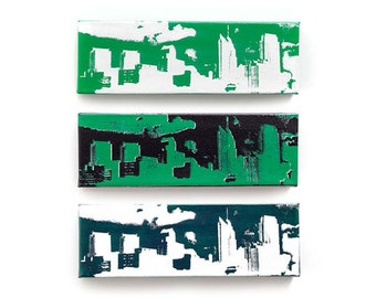 Philadelphia Skyline Canvas Set of 3 (12 x 4 inches each, Green, Black, White, Silver) Philly Sports Decor Wall Art