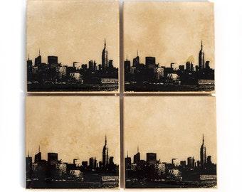 New York Skyline Coaster Set (4 Stone Coasters, Black & White) NYC Cityscape Home Decor