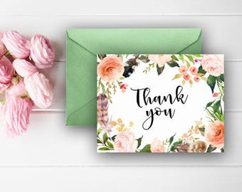 Floral Thank You Cards, Rustic Thank You Notes, Birthday Thank You, Flowers, Feathers, Digital Download, Printable Cards, 602
