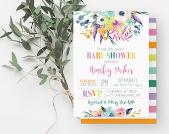 Anemone Baby Shower Invitation, Watercolor Flowers, Girl Baby Shower, Printable Invite, Purple, Pink, Aqua, 875