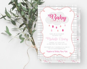 Rain Baby Shower Invitation, Girl Baby Sprinkle Invite, Cloud Baby Shower, Shades of Pink, Coral, Gray, 899