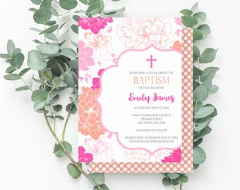 Pink Floral Baptism Invitation, Girl Baptism Invite, Chrysanthemum, Printable Invite, Coral, Pink, Peach, Fuchsia, 740