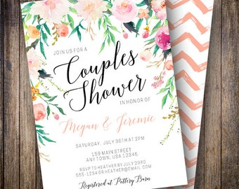 Couples Shower Invitation, Watercolor Couples Shower, Floral Wedding Shower, Floral Couple Shower Invite in Pink, Coral, Magenta, Green