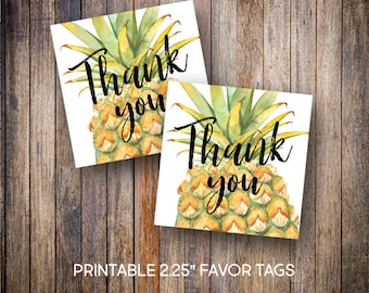 "Pineapple Favor Tags, 2.25"" Square Tags, Thank You Tag, Birthday Tags, Gift Tags, Watercolor, Digital Download, Printable Tags, 600"