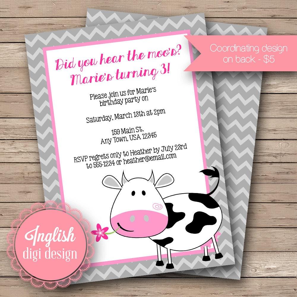 Printable Cow Birthday Party Invitation Cow Birthday Party | Etsy