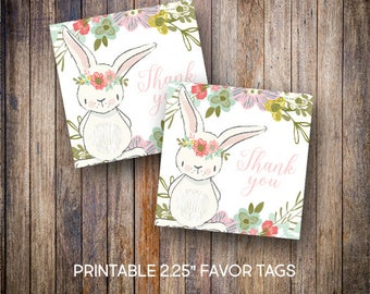 "Bunny Rabbit Favor Tags, 2.25"" Square Tags, Thank You Tag, Birthday Tags, Gift Tags, Balloons, Digital Download, Printable Tags, 601"