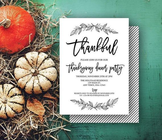 thankful minimalist invitation turkey day party friendsgiving
