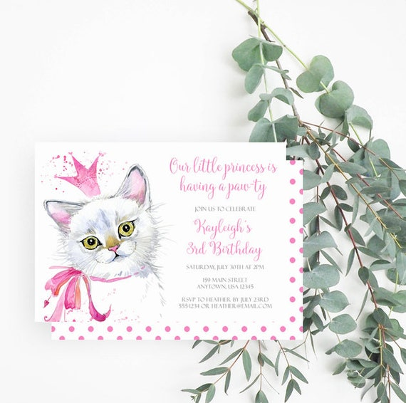 Cat Birthday Party Invitation Princess Party 3rd Birthday