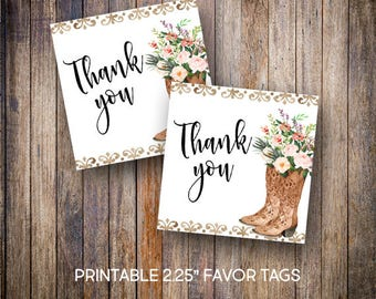 """Floral Cowgirl Boots Favor Tags, 2.25"""" Square Tags, Thank You Tag, Rustic Baby Shower Tags, Gift Tags,Digital Download, Printable Tags, 806"""