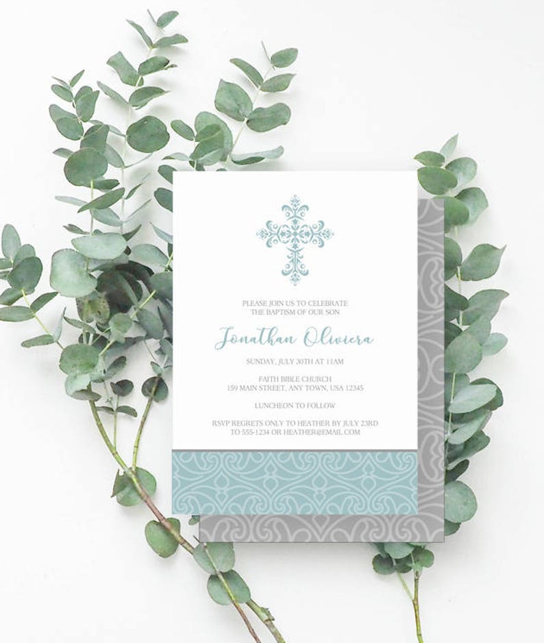 image about Printable Baptism Cards known as Baptism Invitation Boy, Baptism Cross Invitation, Printable Baptism Invites, Baptism Invitations, Boy Baptism, Blue, Grey