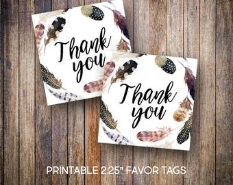 """Feather Favor Tags, 2.25"""" Square Tags, Thank You Tag, Rustic Baby Shower Tags, Tribal, Gift Tags,Digital Download, Printable Tags, 805"""