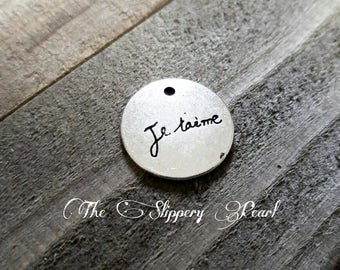 Word Charm I Love You Pendant Je Taime French Words Charm Antiqued Silver